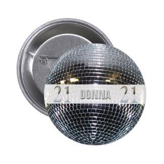 21ro Número de plata 21 del cumpleaños Pin Redondo De 2 Pulgadas