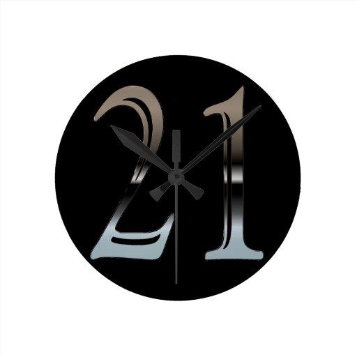 21ro Número de plata 21 del cumpleaños Reloj Redondo Mediano