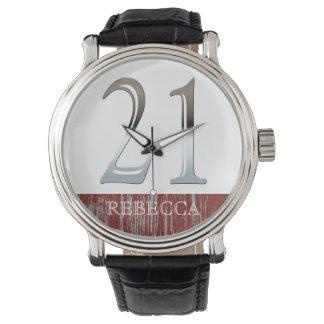 21ro Número de plata 21 del cumpleaños Relojes De Mano