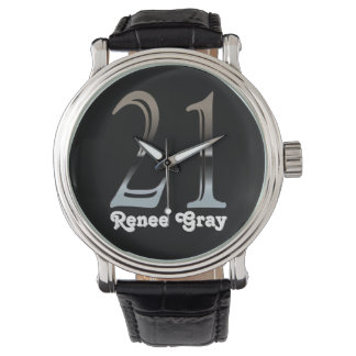 21ro Número de plata 21 del cumpleaños Relojes De Pulsera