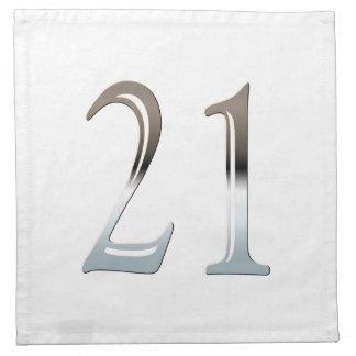 21ro Número de plata 21 del cumpleaños Servilletas De Papel