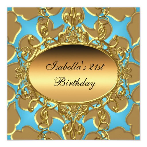 "21ro Oro azul del Flourish del oro del trullo de Invitación 5.25"" X 5.25"""