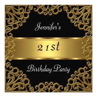 """21ro oro del negro de la fiesta de cumpleaños invitación 5.25"""" x 5.25"""""""