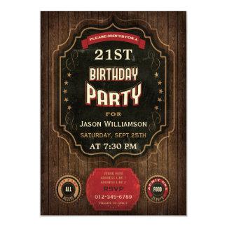 21ro Pizarra y madera del vintage del cumpleaños Invitación 12,7 X 17,8 Cm