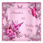 21ro Plata floral rosada bonita de la mariposa del Comunicados Personalizados