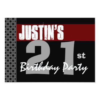 """21ro Plata negra roja moderna W1703 del cumpleaños Invitación 5"""" X 7"""""""