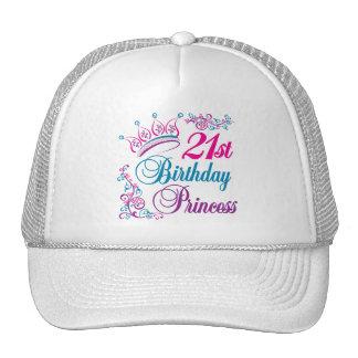 21ro Princesa del cumpleaños Gorros Bordados