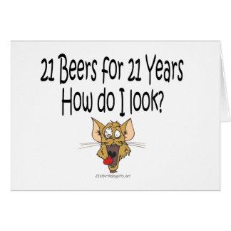 21ro Regalos de cumpleaños 21 cervezas por 21 años Tarjeta De Felicitación