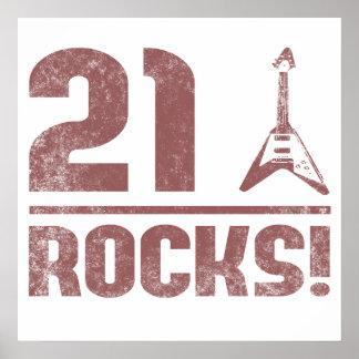 21ro Rocas del cumpleaños Póster