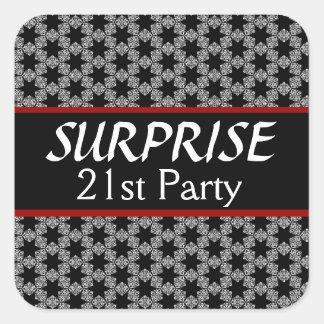 21ro Rojo de la plata del negro de la fiesta de Pegatina Cuadrada