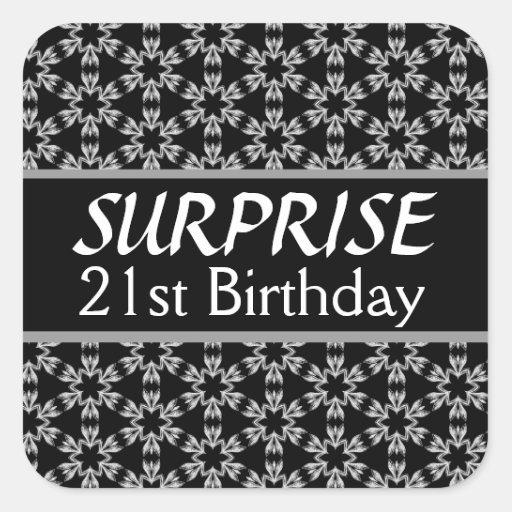 21ro Rojo de la plata del negro del cumpleaños de Calcomania Cuadradas Personalizada