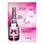 21ro Rosa Champán 21 de la fiesta de cumpleaños Invitación 12,7 X 17,8 Cm