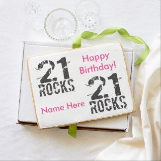 21ro rosa personalizado del cumpleaños - 21 rocas