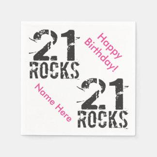 21ro rosa personalizado del cumpleaños - 21 rocas servilletas de papel