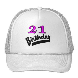 21ro Rosa y negro del cumpleaños Gorras De Camionero