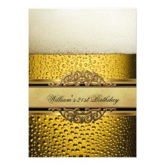 21ro Sirve a la fiesta de cumpleaños negra del oro Invitación