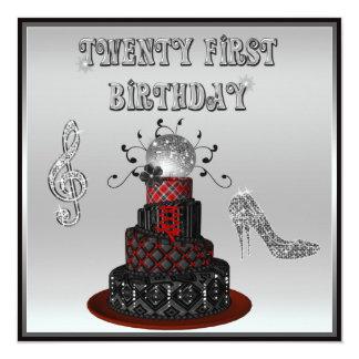 "21ro Talones de la chispa de la torta de la diva Invitación 5.25"" X 5.25"""