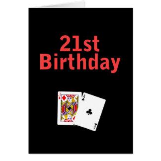 21ro Tarjeta de Black Jack del cumpleaños