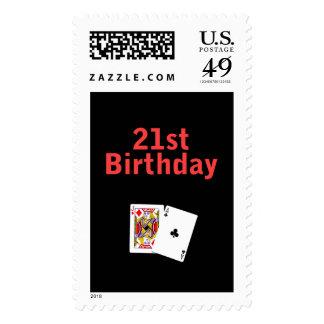 21ro Tarjeta de Black Jack del cumpleaños Franqueo
