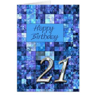 21ro Tarjeta de cumpleaños con los cuadrados abstr