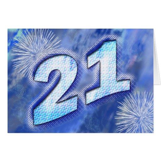 21ro Tarjeta de cumpleaños con los fuegos artifici