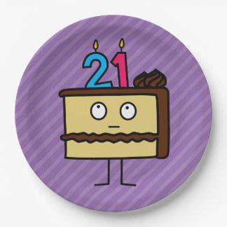 21ro Torta de cumpleaños con las velas Platos De Papel