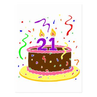21ro Torta de cumpleaños Tarjeta Postal