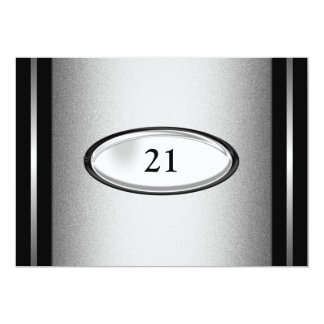 21ro varón del cumpleaños de la raya de plata invitación 12,7 x 17,8 cm