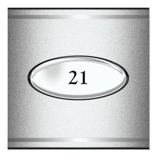 21ro varón del cumpleaños de la raya de plata invitación 13,3 cm x 13,3cm