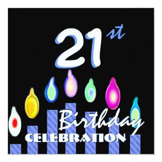 """21ro Velas rayadas azules de la fiesta de Invitación 5.25"""" X 5.25"""""""