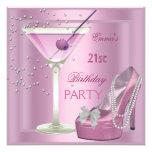21ro Zapatos del tacón alto de Martini del rosa de Invitaciones Personalizada