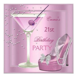 """21ro Zapatos del tacón alto de Martini del rosa de Invitación 5.25"""" X 5.25"""""""