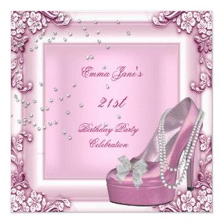 """21ro Zapatos del tacón alto del rosa de la fiesta Invitación 5.25"""" X 5.25"""""""