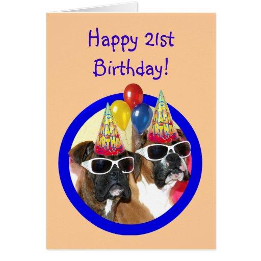 21ros perros felices del boxeador del cumpleaños tarjeta de felicitación