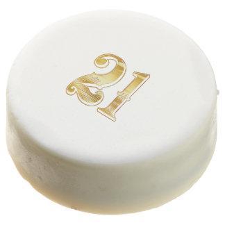 21st Anniversary Birthday Gold White Cookie