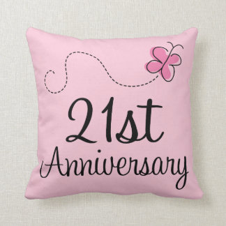 21st Anniversary Celebration Gift Erfly Throw Pillow