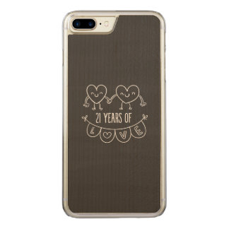 21st Anniversary Chalk Hearts Carved iPhone 8 Plus/7 Plus Case