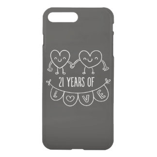 21st Anniversary Gift Chalk Hearts iPhone 8 Plus/7 Plus Case
