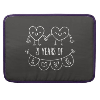 21st Anniversary Gift Chalk Hearts MacBook Pro Sleeves