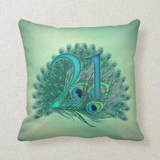 21st anniversary green throw pillow