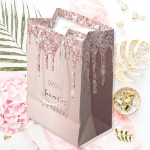 21st birthday 21 rose gold glitter drips medium gift bag
