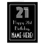"[ Thumbnail: 21st Birthday — Art Deco Inspired Look ""21"" + Name Card ]"