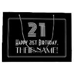 "[ Thumbnail: 21st Birthday — Art Deco Inspired Look ""21"" & Name Gift Bag ]"