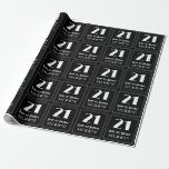 """[ Thumbnail: 21st Birthday - Art Deco Inspired Look """"21"""", Name Wrapping Paper ]"""