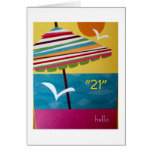 21st BIRTHDAY AT THE BEACH GREETINGS Greeting Cards