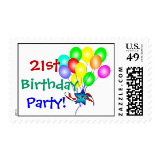 21st Birthday Balloons Postage Stamps