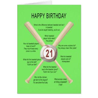 21st birthday baseball jokes card