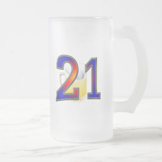 21st birthday beer 16 oz frosted glass beer mug