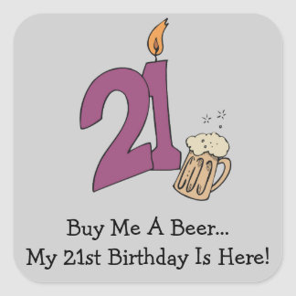 21st Birthday Beer (customizable) Stickers