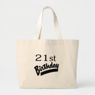 21st Birthday Black Canvas Bags